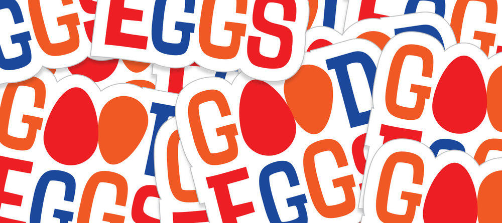 Good Eggs logo stickers