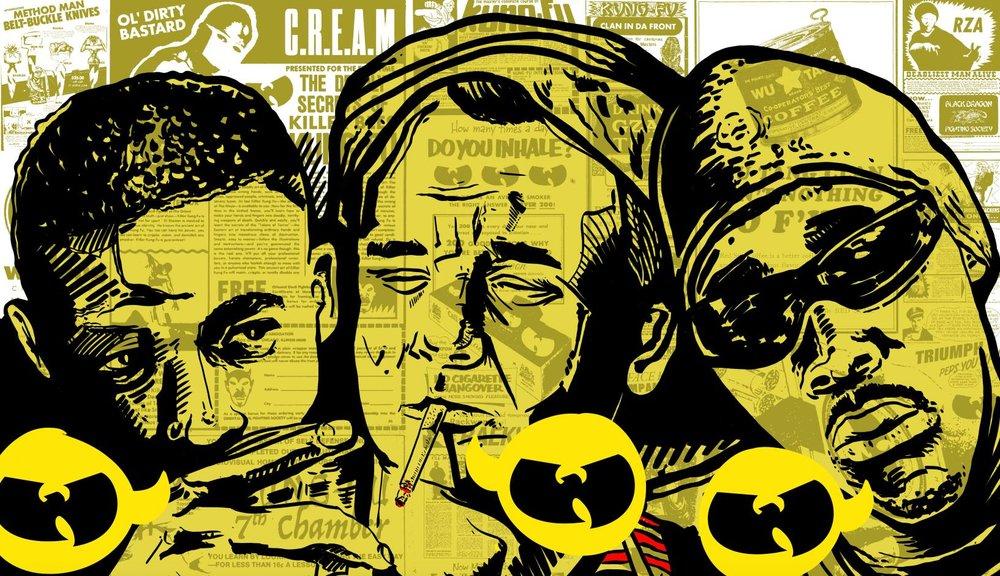 Illustration Gza, Bill Murray & Rza from Coffee & Cigarettes