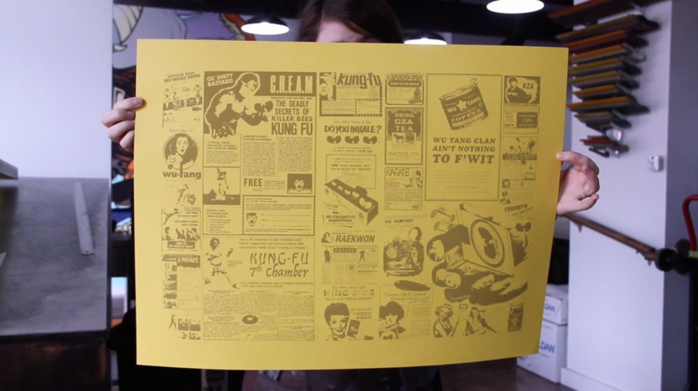 First layer down, newsprint, Wu Tang Ads