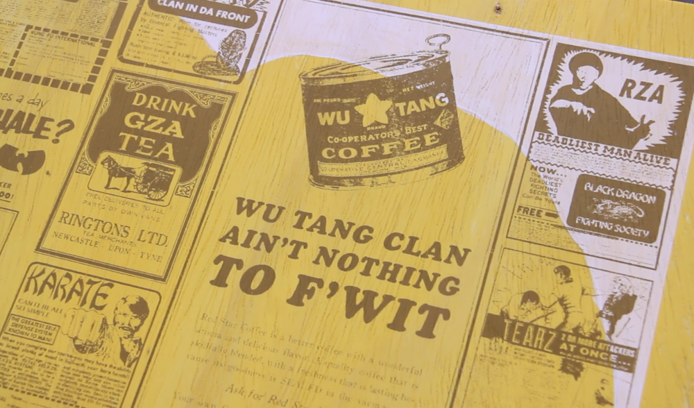 Close up of the Wu Ads on the interactive sculpture