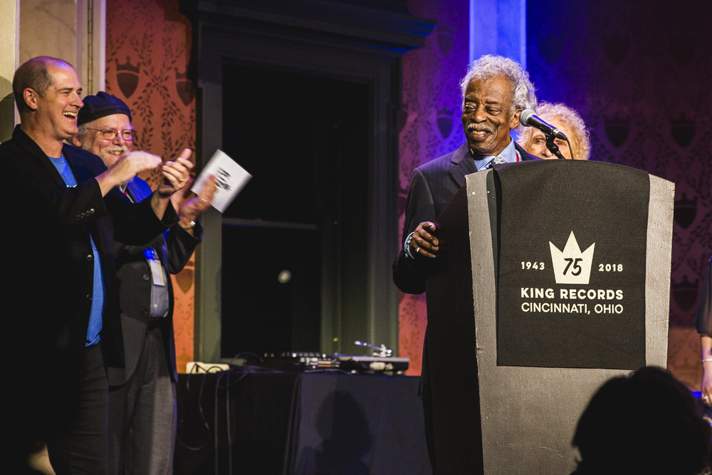Philip Paul and his wife Bobby accepting his Lifetime Achievement Award at Memorial Hall, Celebrate the King.