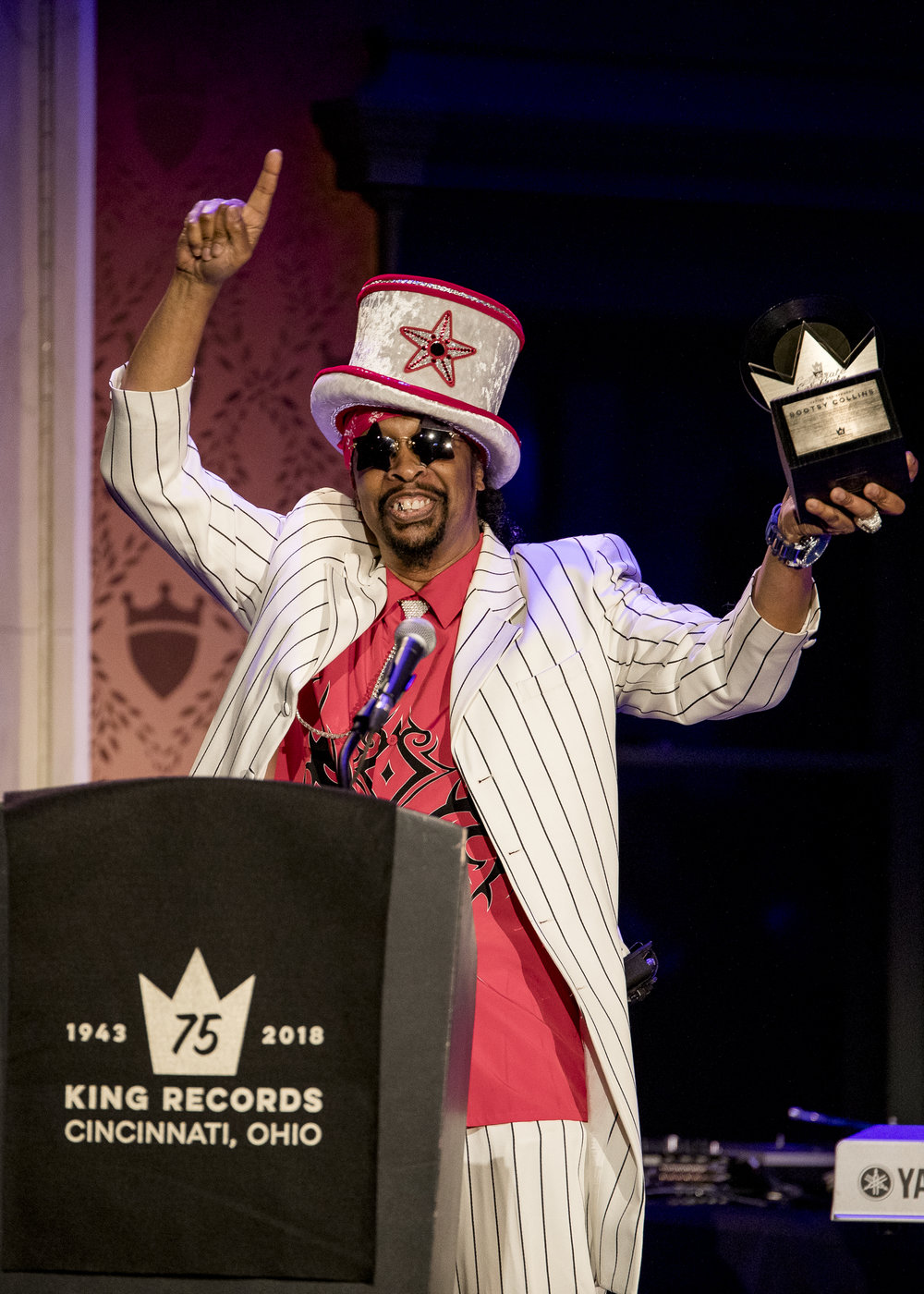 The crowd erupts with Bootsy Collins giving some love and saying thanks to Cincinnati and King Records.