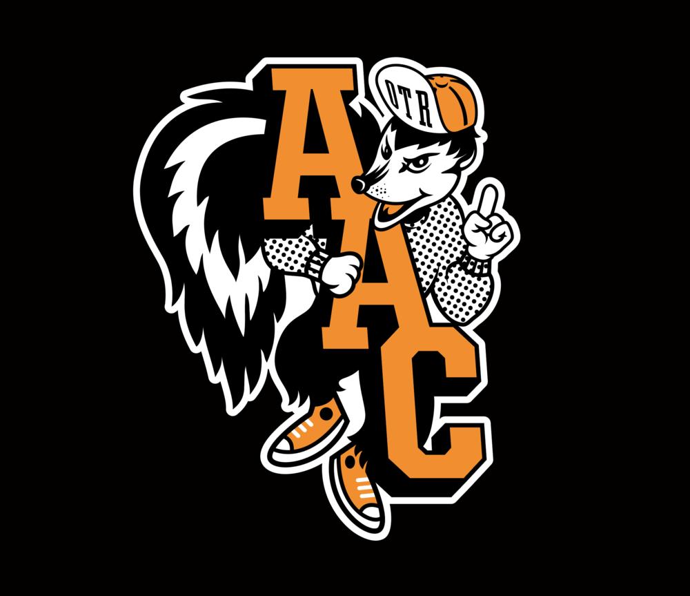 """Stinkers,"" AAC skunk on black"