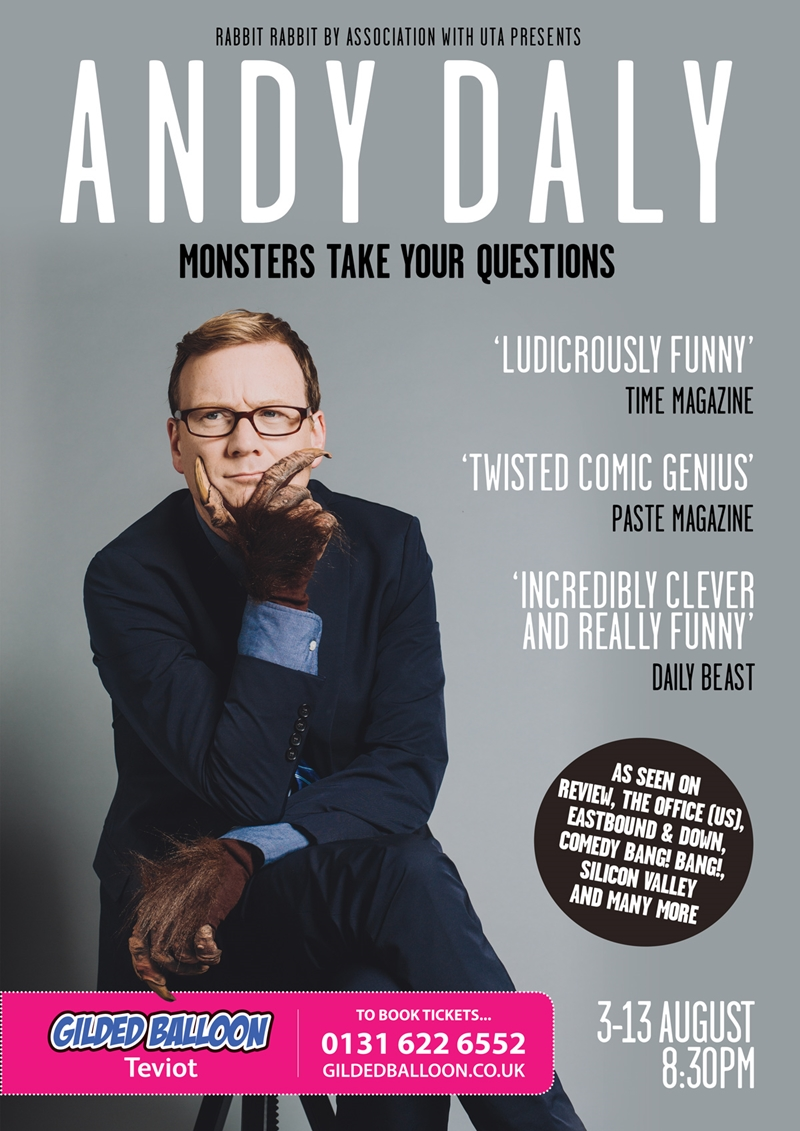 Mosters Take Your Questions - Andy Daly Ed Fringe Show Poster