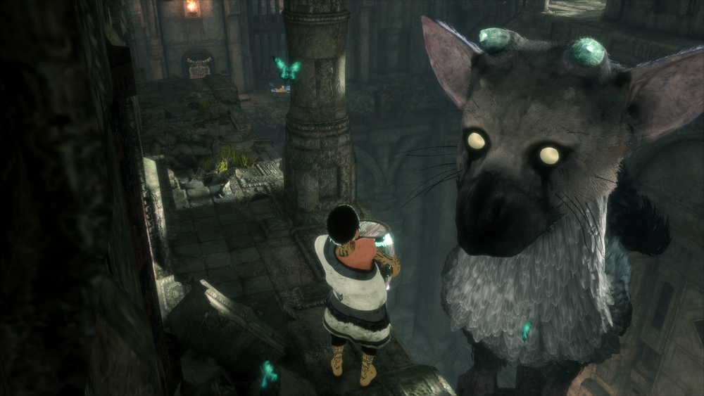 Got snacks? These blue barrels (indicated by nearby blue butterflies) are Trico's favorite snack. They're also the game's primary collectible. Find as many as possible to unlock the game's collectible outfits and more.
