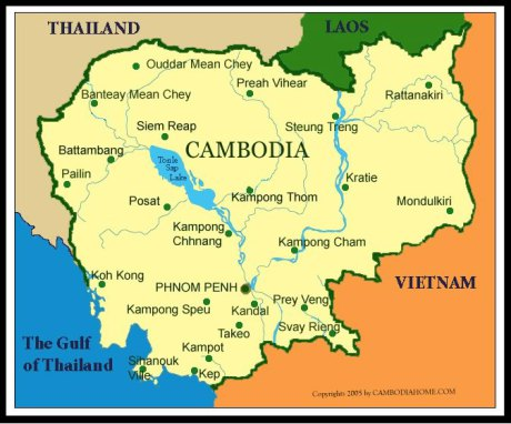 Map of present-day Cambodia