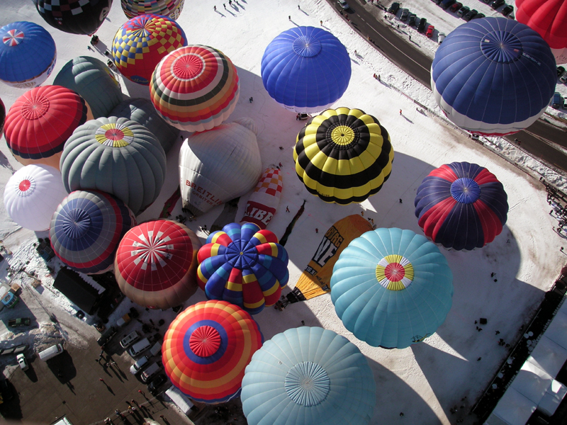 Colorful balloons during the Chateau Doex Festival