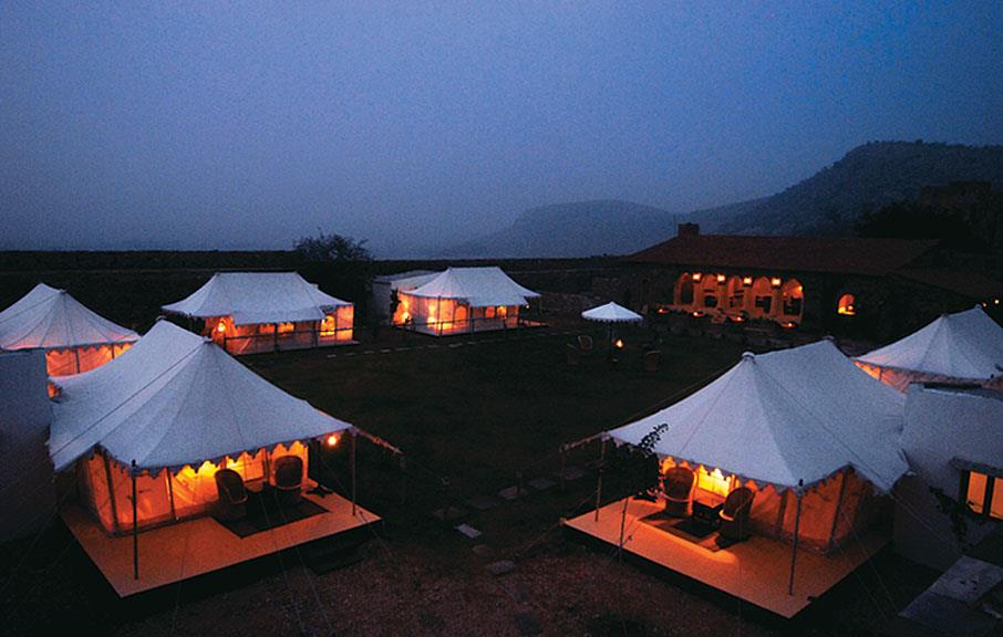 Luxury Tents at night