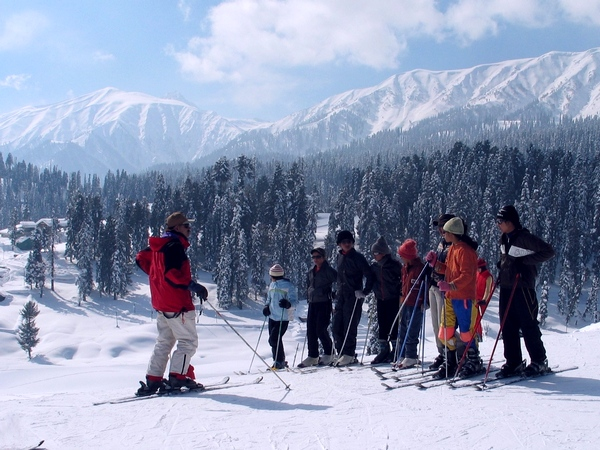 A training session on skiing in progress