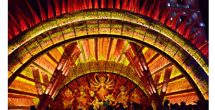 Colorful Pandal during Durga Puja
