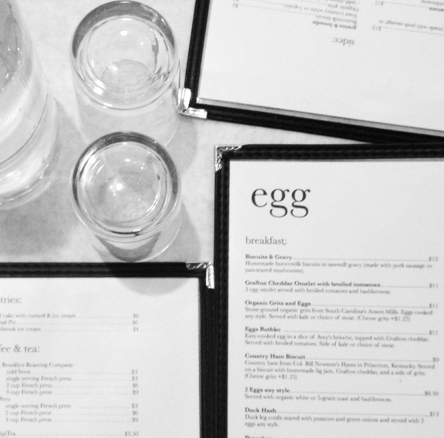 Menu at Egg