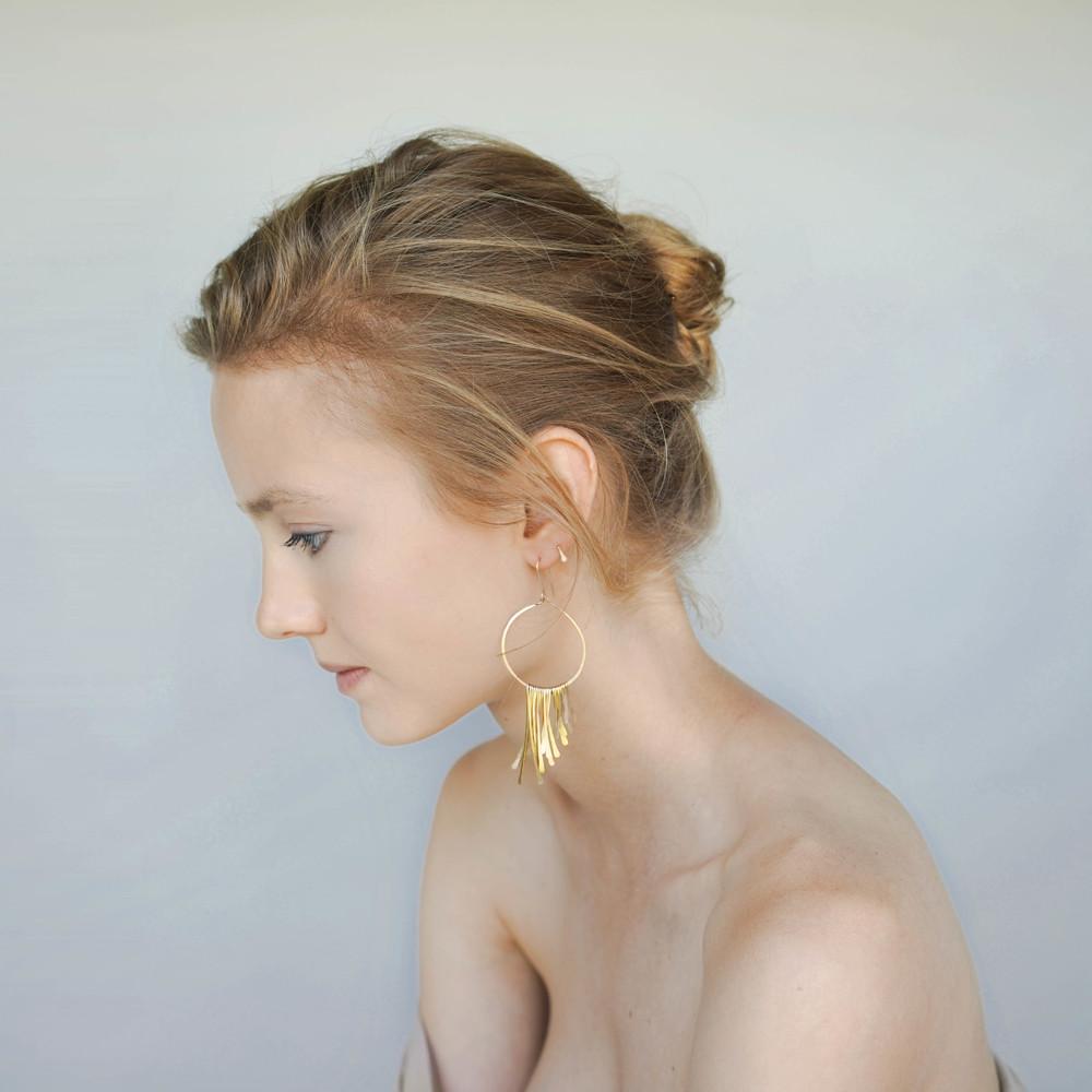 Fringe earrings, Tab earring