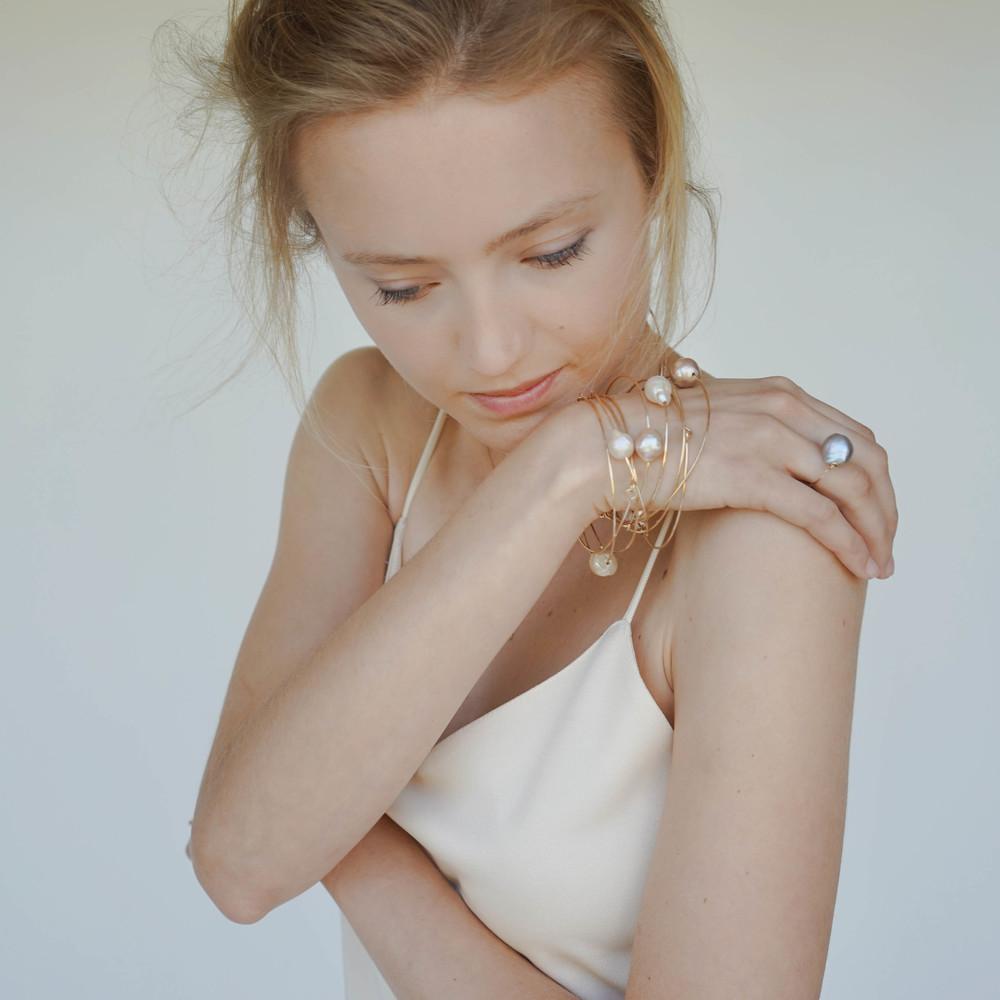 Baroque pearl bangles,  Baroque pearl bead ring