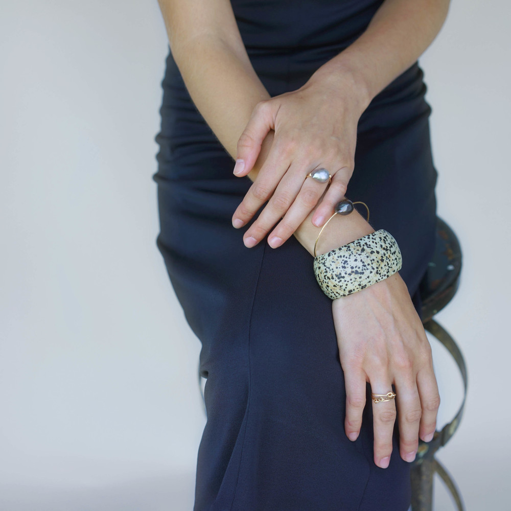 Baroque pearl bead ring, Baroque pearl cuff, Spotted agate carved Stone cuff,  Hammered loop rings