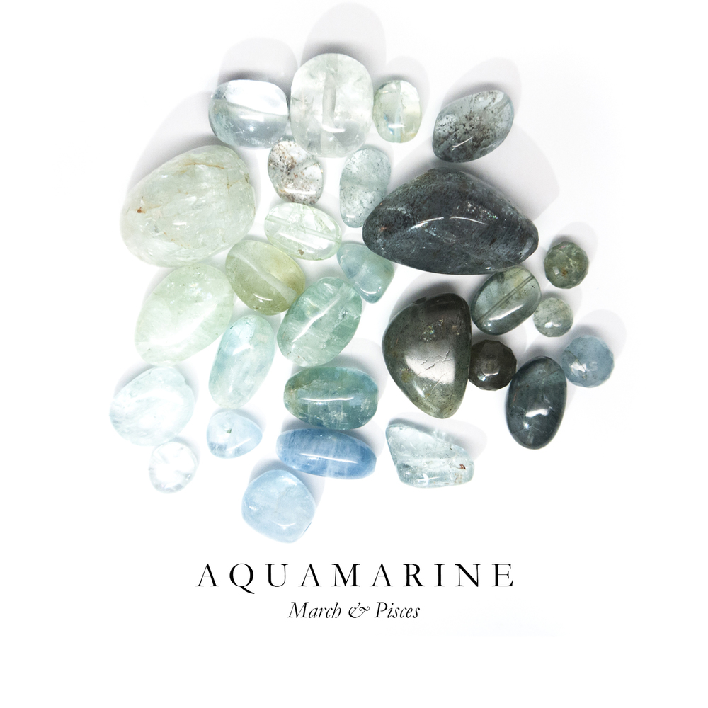 "A Q U A M A R I N E - Aquamarine ranges in a brilliant array of ocean hues, which is why it is our favorite stone.  Derived from the Latin ""aqua marinus"" meaning ""water of the sea,""  Aquamarine is said to increase clarity in communication, and tranquility.   In ancient Greek mythology, Aquamarine was used as a talisman gifted from mermaids to protect sailors during stormy seas.  Today, most Aquamarine is mined in Brazil."