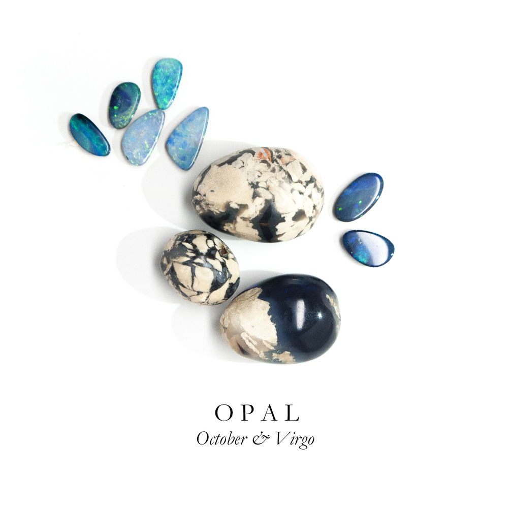 "O P A L - Derived from the Greek word ""opalus"" meaning ""changing color,"" opal comes in electric shades of blue, orange, and white with fiery flashes. It's one of nature's most incredible kaleidoscopes.   Some opals are 50-65 million years old and date  back to the Cretaceous period of the dinosaurs. Most of our opal comes from Australia. Opals are also known as the ""Eye Stone,"" bringing the wearer creative inspiration."