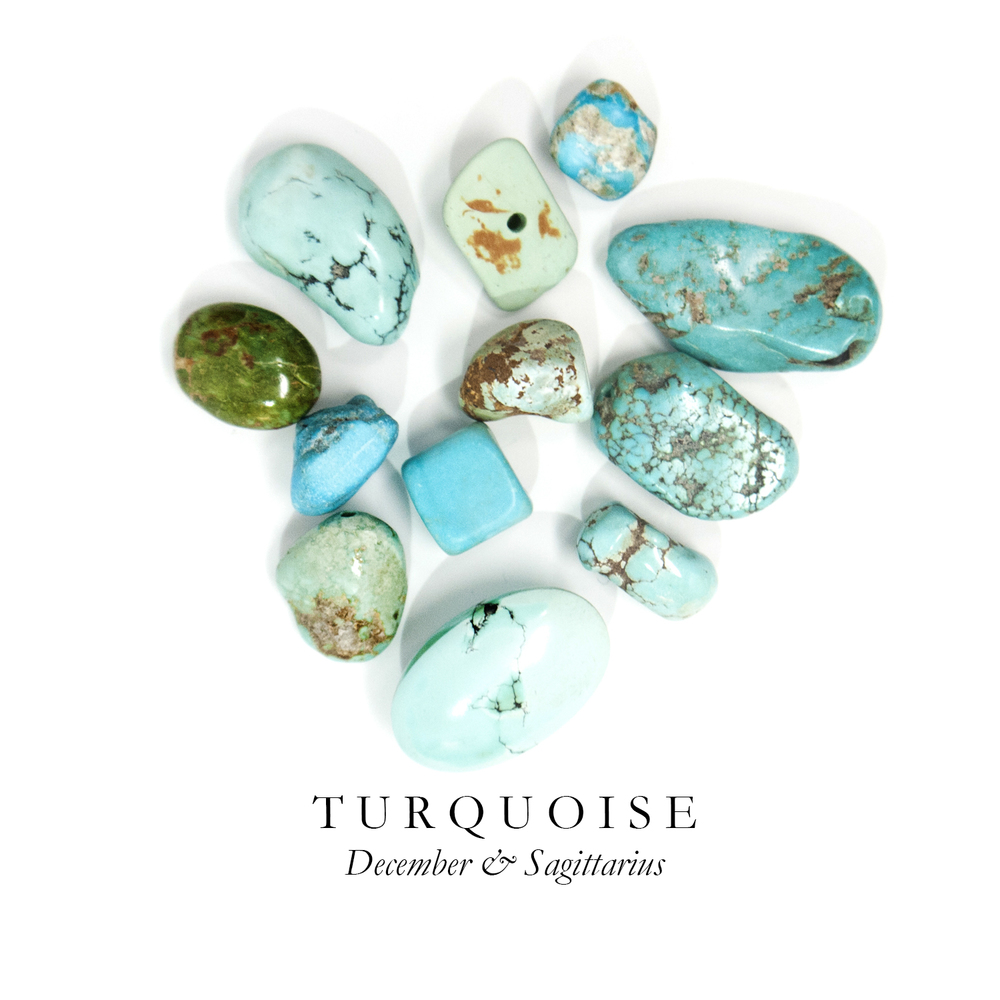 T U R Q U O I S E - Our stone with a Western vibe - Turquoise is famous for its brilliant opaque blue/green color.  Known for its protective powers, Turquoise is one of the oldest stones used historically as a talisman by warriors, shamans, and kings. For this reason, Turquoise appeared in Ancient Egyptian burial ceremonies to guard the passage of the dead.  Much of our Turquoise is mined in the U.S., but it is also found in Mexico, Iran, Chile, China, and Tibet.