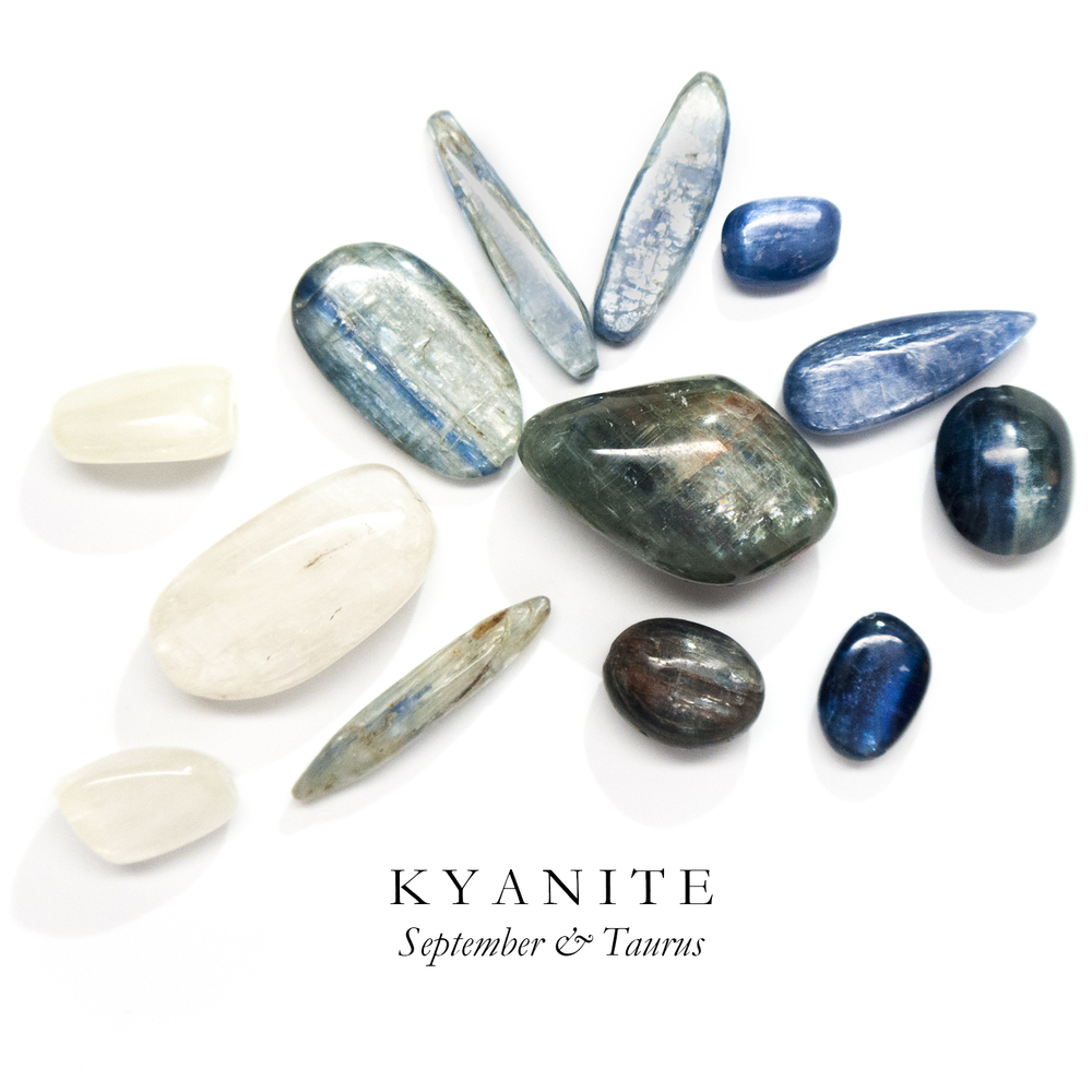 "K Y A N I T E - Another one of our favorite ocean stones, Kyanite's name is derived from the Greek word ""kyanos"" meaning deep blue. Kyanite can be found in ivory white, grey, and green tones as well.  Kyanite promotes communication and reparation of damaged relationships both physical and spiritual. Some suggest placingKyanite under your pillow in order to interpret your dreams more clearly.  Kyanite can be found in Brazil, India, Kenya, and Zimbabwe."