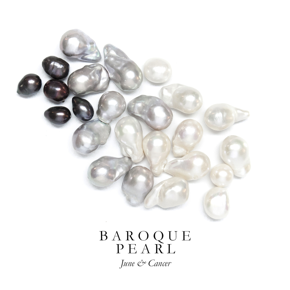 B A R O Q U E  P E A R L - We use freshwater Baroque Pearls instead of round pearls because of their gorgeous variation in organic shapes and sizes.  As symbols of purity, love, and union, Pearls have been used in wedding ceremonies dating back to the ancient Hindu story of Krishna, who plucked the first Pearl from the ocean and gave it to his daughter Pandaia on her wedding day.  Freshwater Baroque Pearls are produced in Japan, the United States, and China.