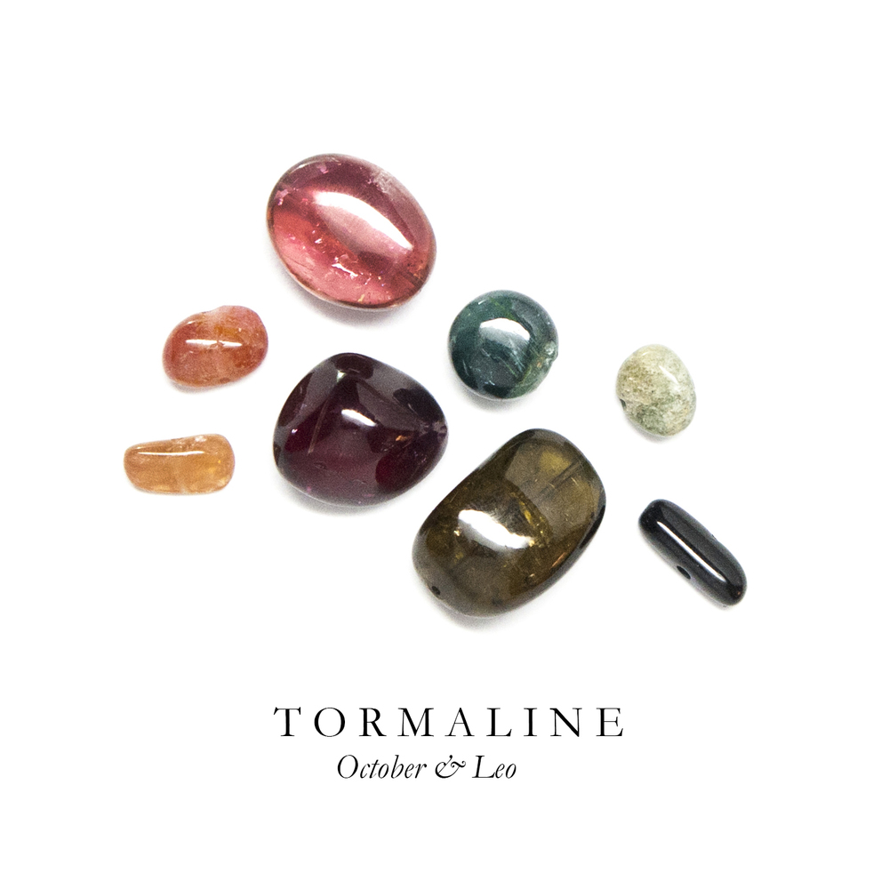 T O U R M A L I N E - Tourmaline is the most colorful of all our stones which runs the gamut from maroon, to yellow, green to blue and black. Pink tourmaline is said to promote love and understanding when faced with fear.   According to Egyptian legend, Tourmaline formed as the result of a journey from the center of the earth through a rainbow.   Tourmaline is found in Brazil, India, Bolivia, Tanzania, and Sri Lanka.