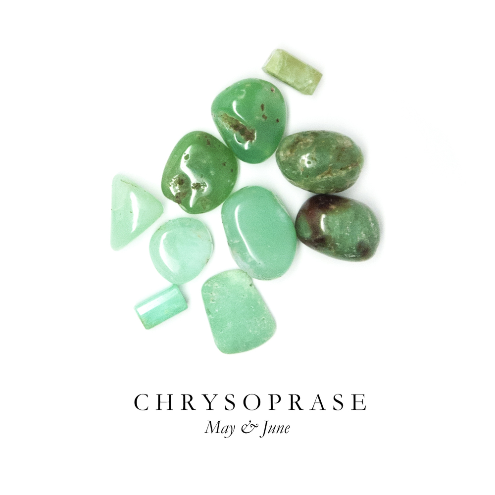 "C H R Y S O P R A S E - The most valuable gemstone in the Chalcedony family, Chrysoprase is prized for its stunning grassy green color. We think of it as Emerald's opaque sister.  In ancient Greek mythology, Chrysoprase is referred to as ""the Stone of Venus"" and is said to promote love, compassion, happiness, and self-confidence. It is said that Alexander the Great wore Chrysoprase to battle as a talisman.  Like most Chalcedonies, Chrysoprase is found primarily in Brazil."