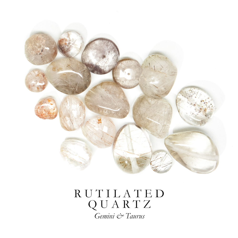 "R U T I L A T E D Q U A R T Z - Rutilated Quartz is a delicate combination of Crystal Quartz and Rutile (a titanium mineral).   Known as ""Venus' Hair Stone"" for the golden threads of Rutile running through it, Rutilated Quartz aids with focus and self-reliance.  Rutilated Quartz can be found in Madagascar, South Africa, India, Brazil, Sri Lanka, and Switzerland."