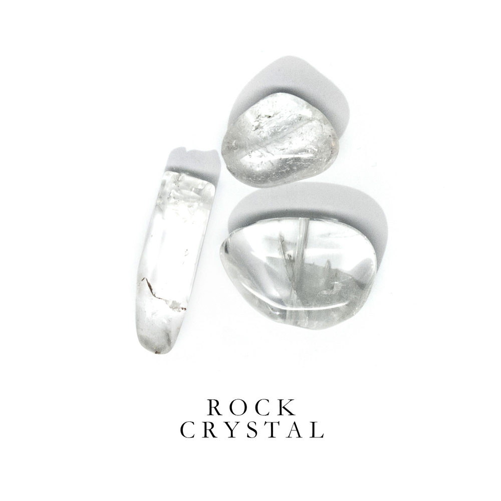 R O C K C R Y S T A L - Rock Crystal is one of the most common minerals on earth. When polished, Rock Crystal transforms into a modern looking glass.  Rock Crystal is known for its high vibrational qualities and has always been regarded as a source of light and energy. Ancient cultures believed that clear Rock Crystal stones were incarnations of the Divine.  Rock Crystal can be found almost everywhere, even in your backyard.