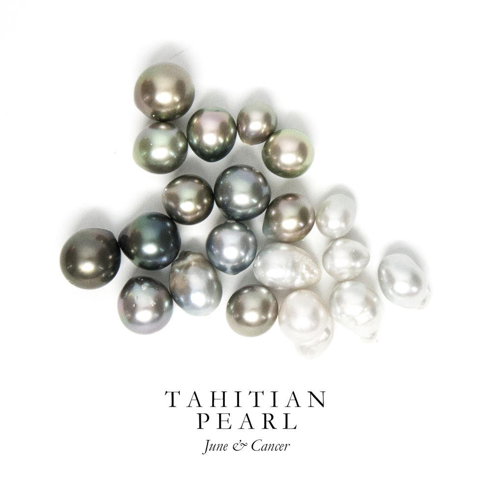 T A H I T I A N P E A R L - Tahitian Pearls are iridescent natural salt water pearls cultivated throughout the waters of French Polynesia. They have gorgeous depth of color and an incredible luster.  The oysters that produce these highly sought after pearls were almost over-fished to extinction in the 1700's and are now cultivated using skilled Japanese methods.  Ancient Polynesians believed that pearls were the first lights in the world and that their form and brightness inspired Tane, the Polynesian God of Harmony and Beauty, to create the stars.