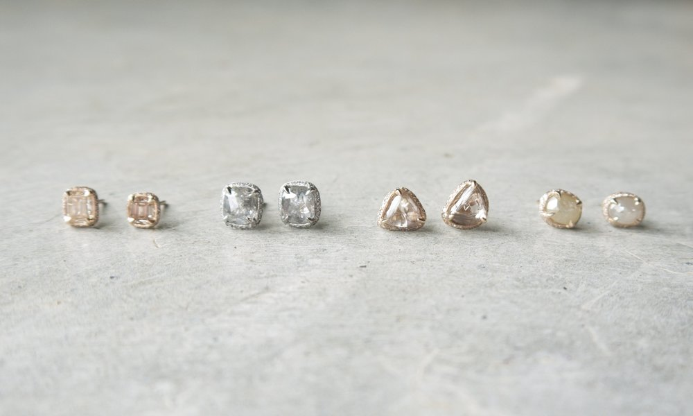 Mary MacGill Mismatched Diamond Stud Earrings