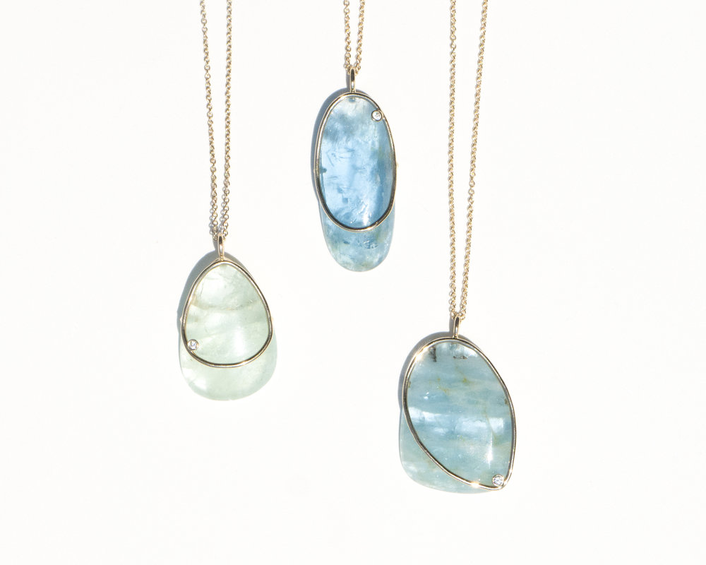 Mary MacGill Dérive Necklaces in Aquamarine