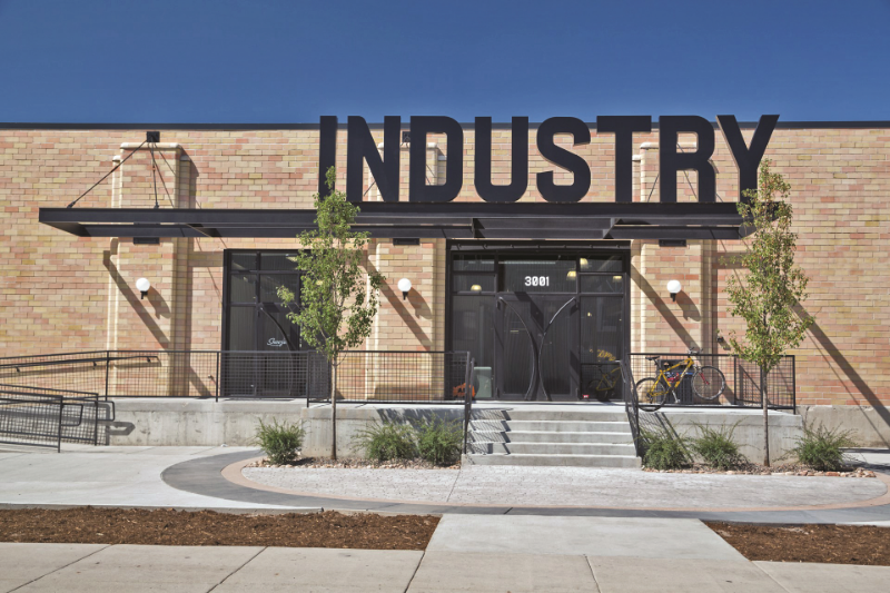 Industry Denver, a 120,000-square-foot office space accommodating 400 tech and creative-sector workers. It also has three restaurants and more than 250 housing units. (Kimberly Wolff)