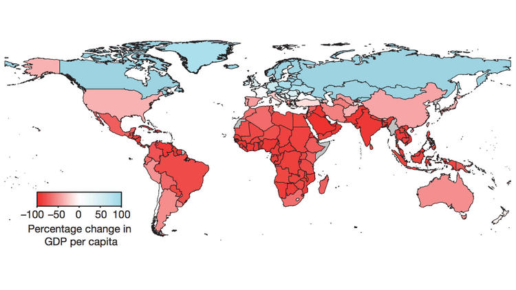 The U.S. and many other countries face economic headwinds from climate change. The redder the color, the more severe the impact. (Burke, Hsiang, & Miguel; Nature, 2015)