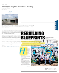 "Read full articles:   ""Developers Buy into Bioscience Building""   &   ""Rebuilding Blueprints"""