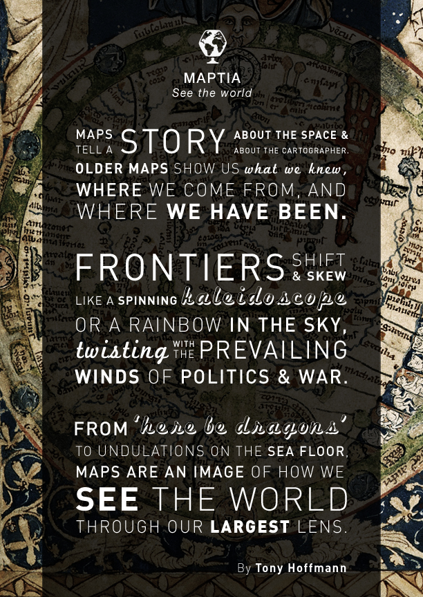 Earth-moving quote from Tony Hoffmann, cartographic/typographic overlays.
