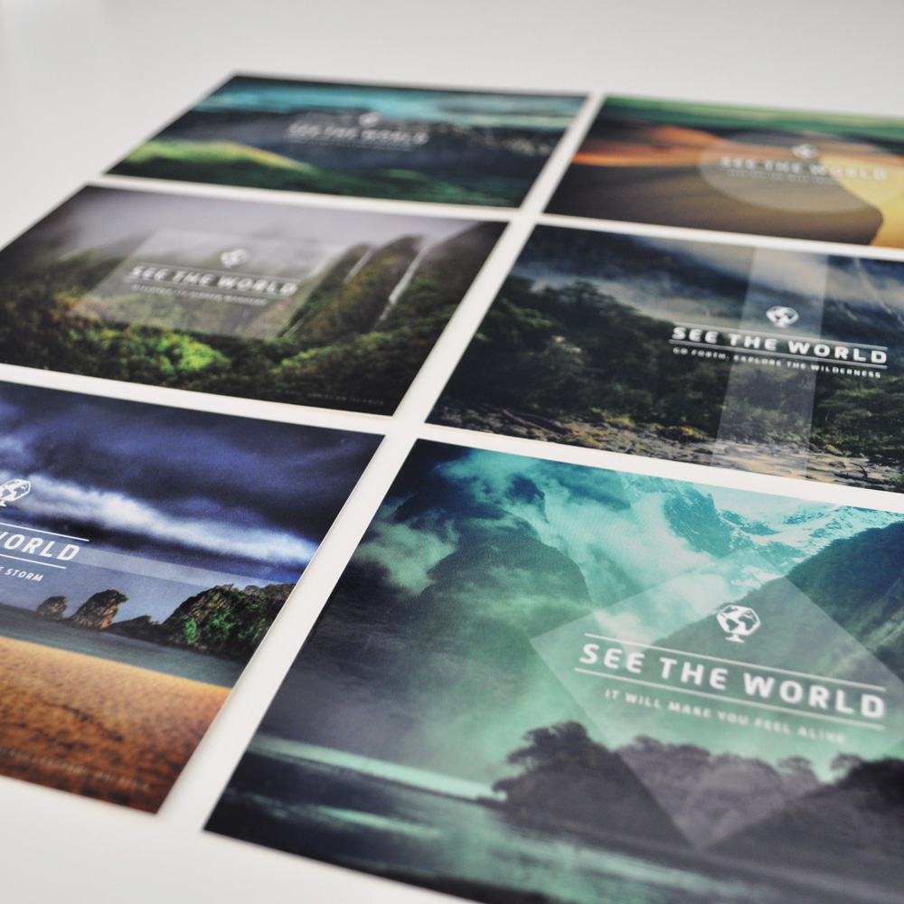 Delightful close-up of the Great Outdoors postcards, drool-worthy.