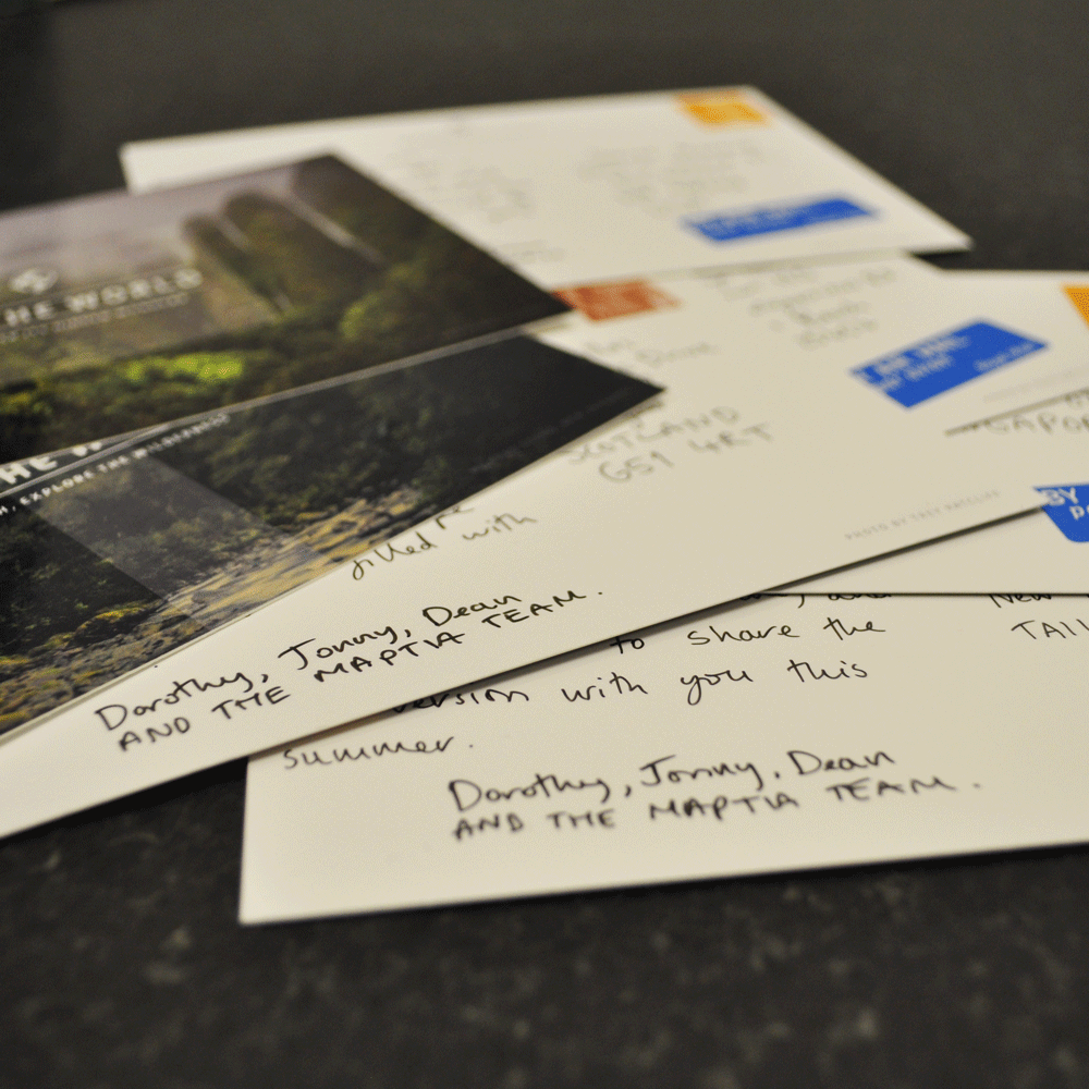 Globetrotting, handwritten postcards. Sent all over the world.