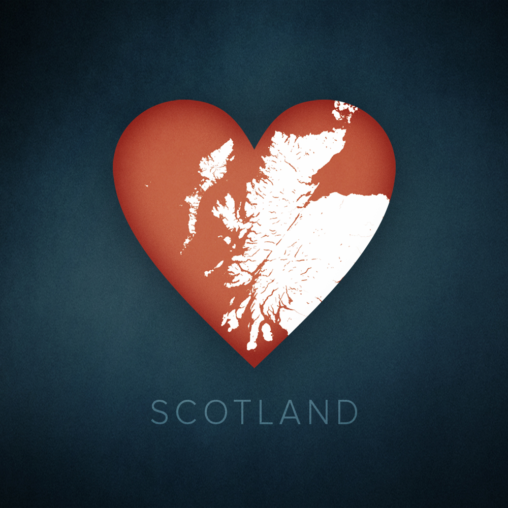 Scotland heart graphic, cartographic.