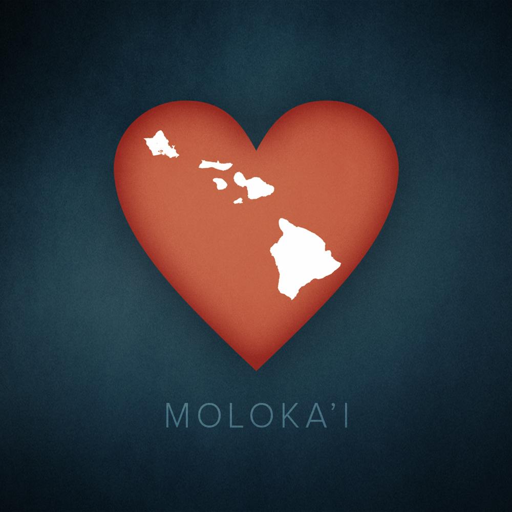 Molokai, Hawaii heart map, cartographic.