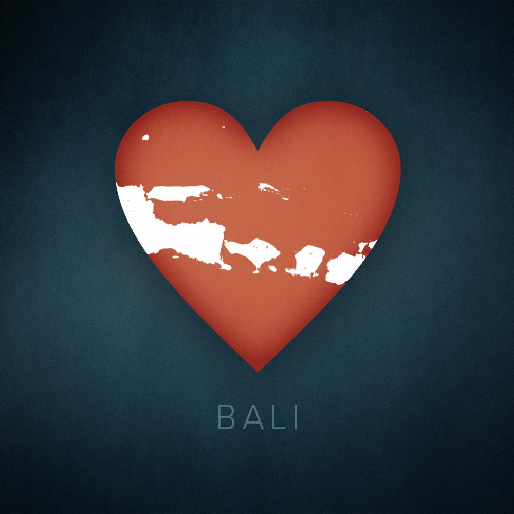 Bali heart map, cartographic.