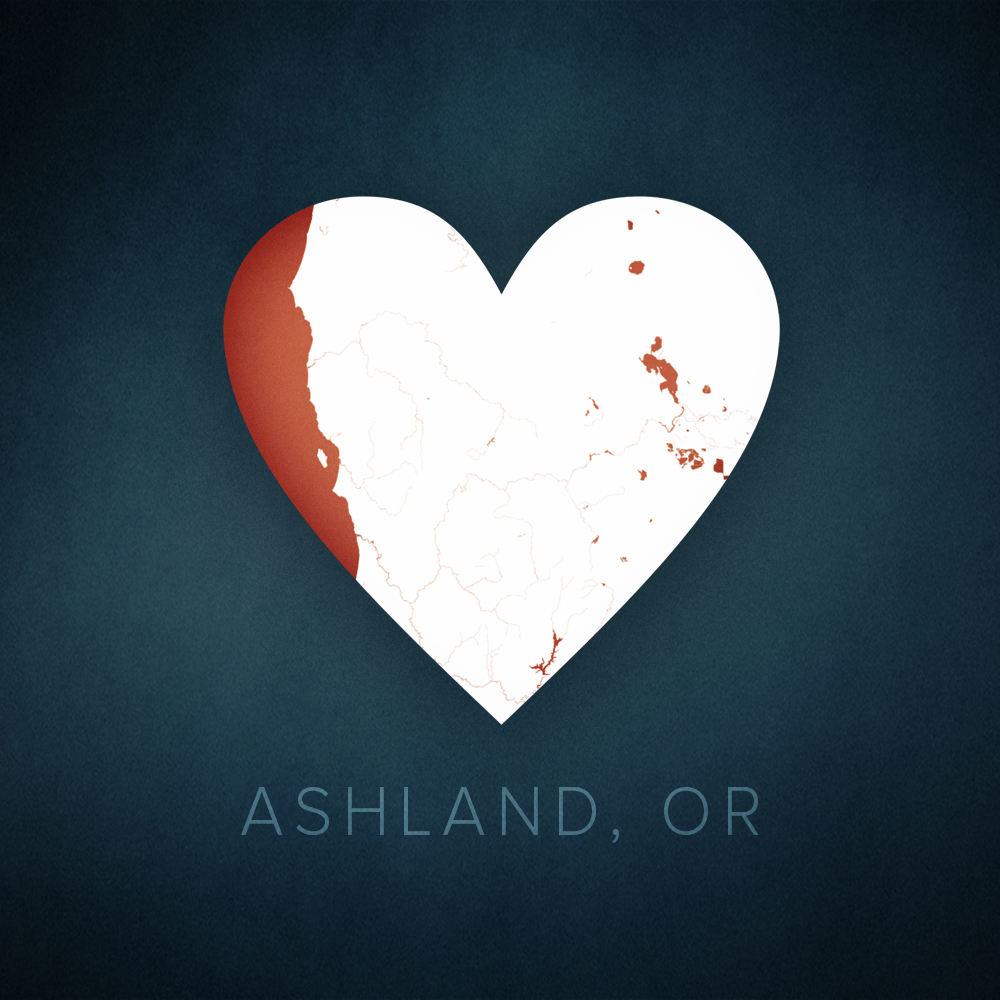 Ashland, Oregon heart map, cartographic.