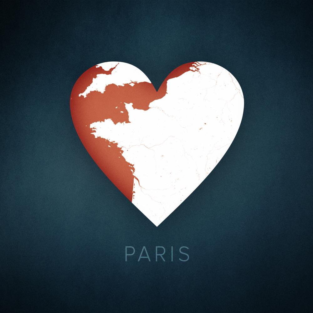 Paris heart map, cartographic, design.