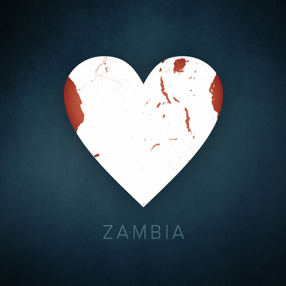 Zambia heart map, cartographic.