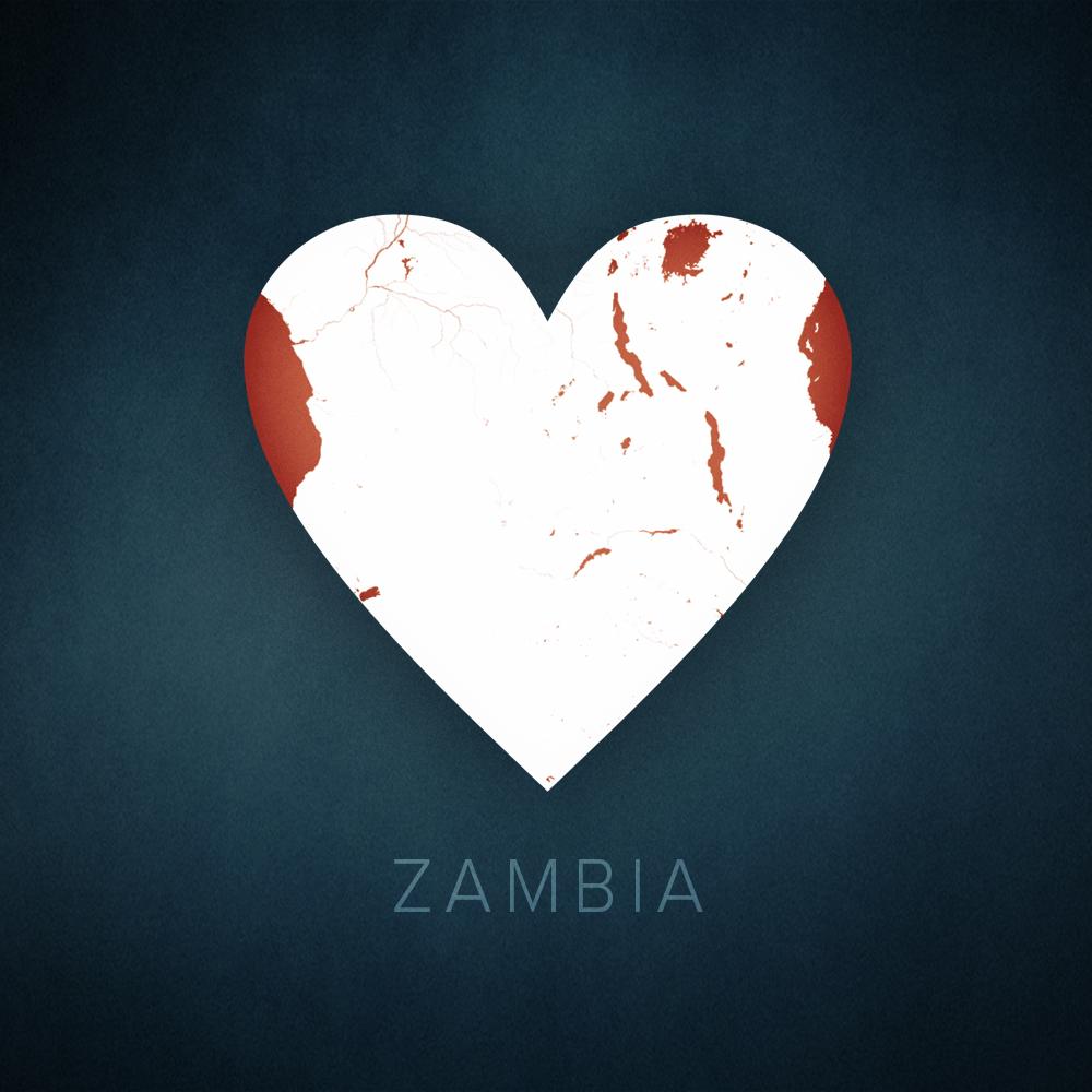 Zambia heart map, cartographic.