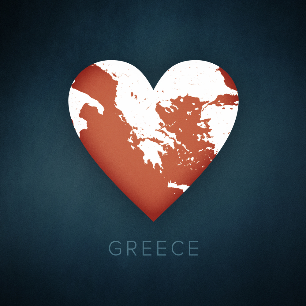 Greece heart map, cartographic.