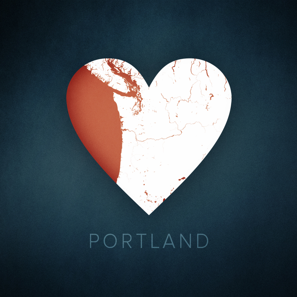 Portland heart map, cartographic.