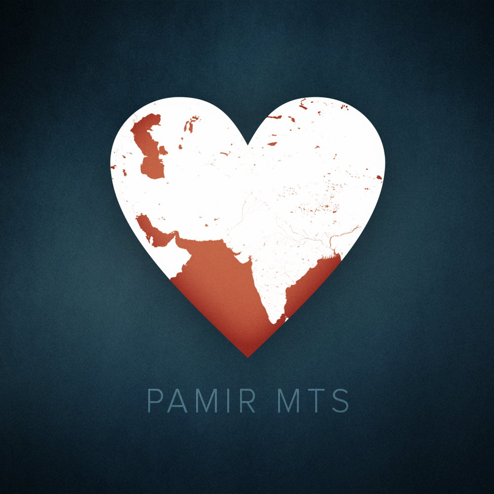 Pamir Mountains, Tajikistan heart map, cartographic.