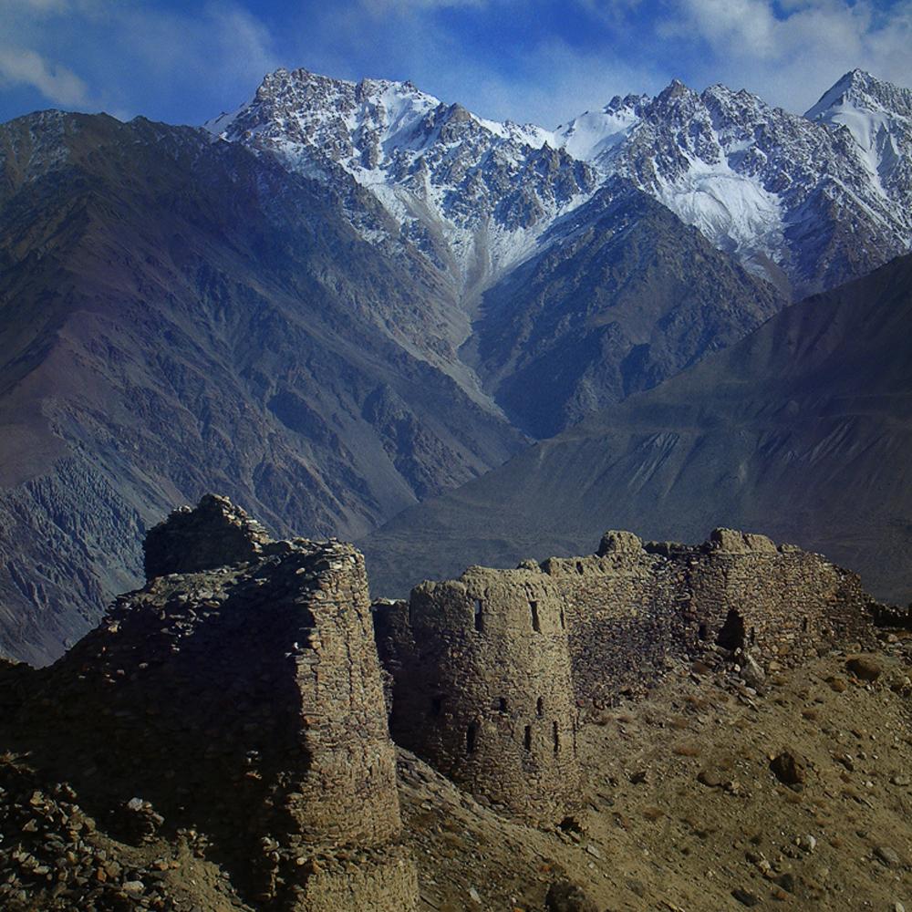 Pamir Mountains, Tajikistan. Old ruins, mountains stunning landscape.