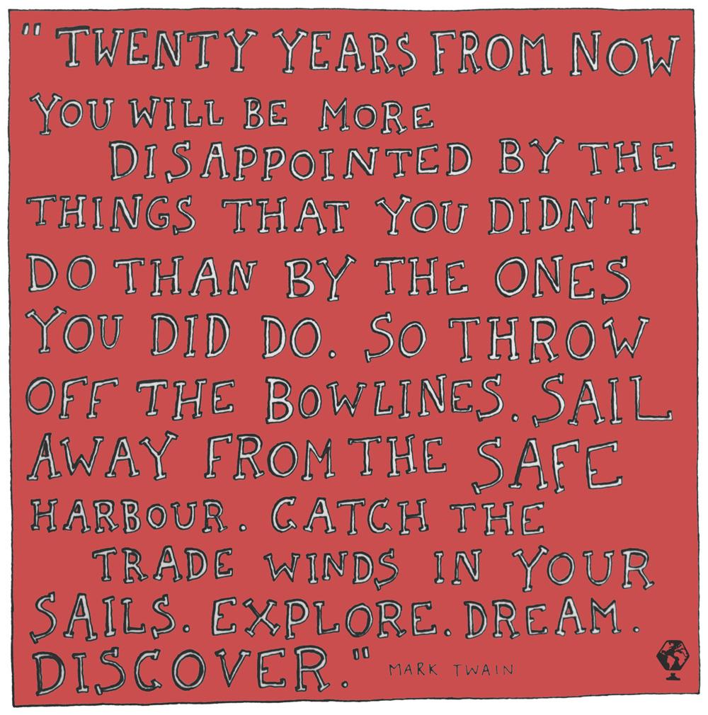 illustrated travel quotes mark twain ken kaminesky