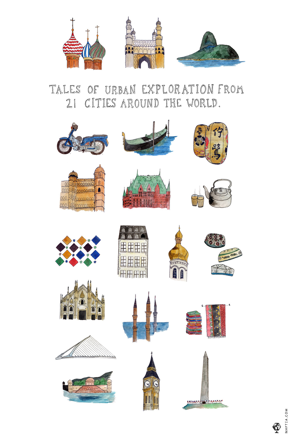 urban explorations, maptia, cities around the world