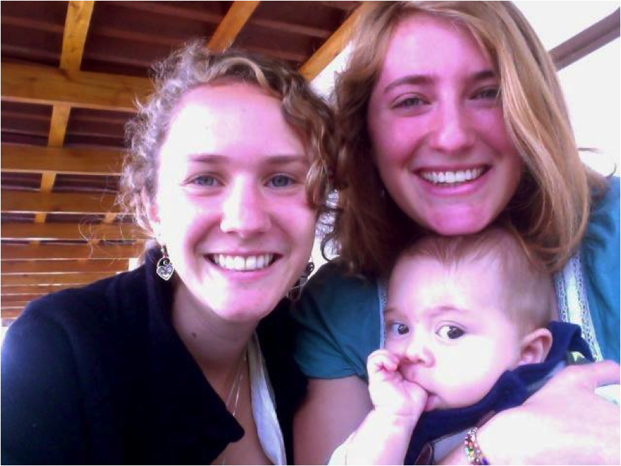 Emma and Molly with baby Santiago during their Internship at the Monteverde Institute.